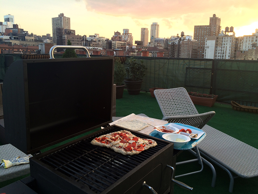 Grilling pizza at sunset - pretty nice way to wrap up a Tuesday!